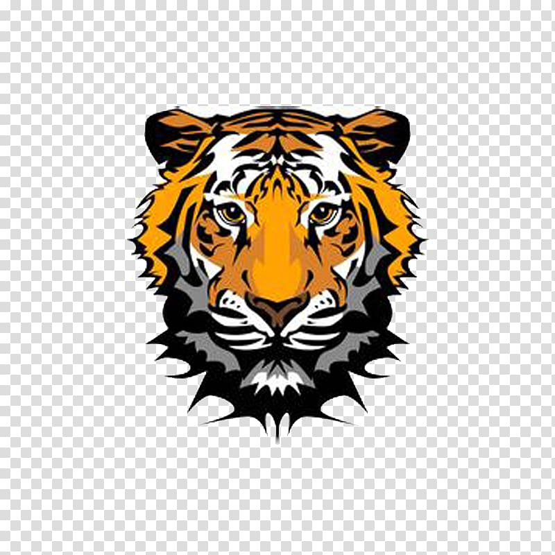 Tiger head logo illustration, Bengal tiger Roar , tiger.