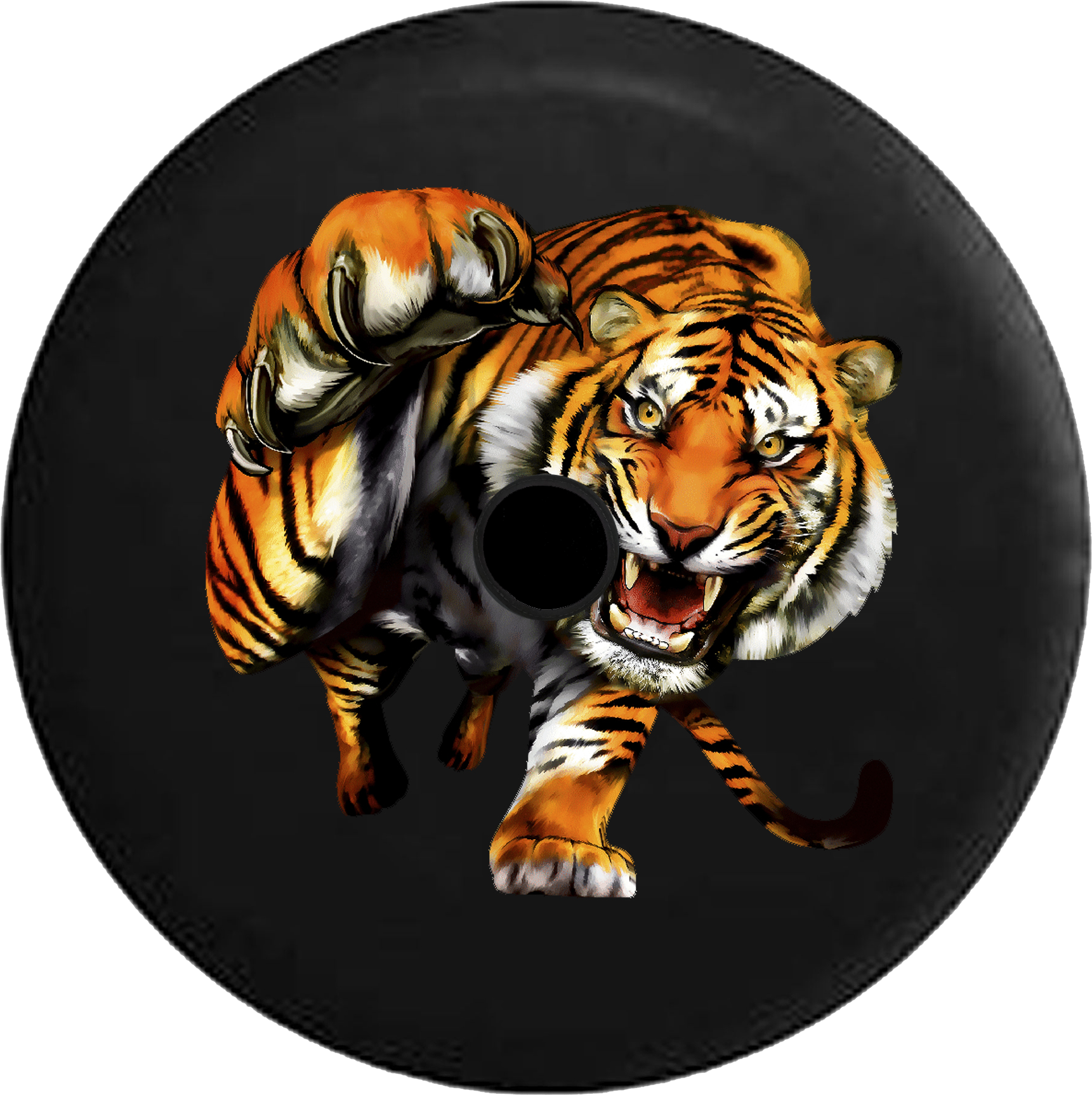 Jeep Wrangler Jl Backup Camera Day Striped Tiger Attacking.