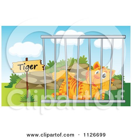 Cartoon Of A Zoo Tiger In A Cage 2.