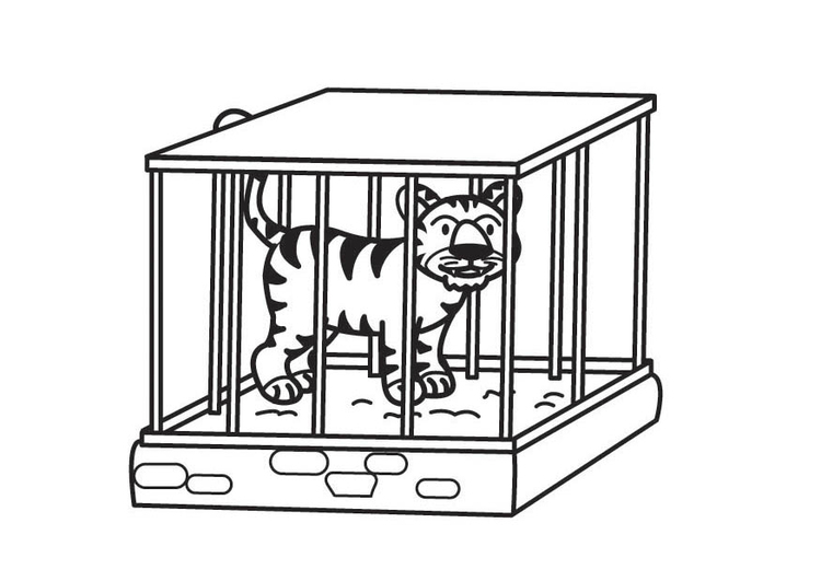 Coloring page Tiger in Cage.