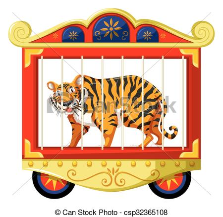 Vector Clipart of Wild tiger in the circus cage illustration.