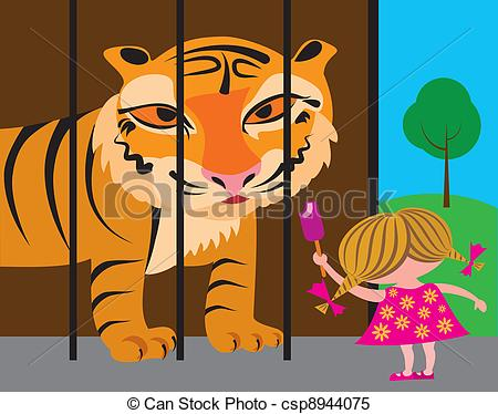 Clipart Vector of child and tiger at the zoo csp8944075.