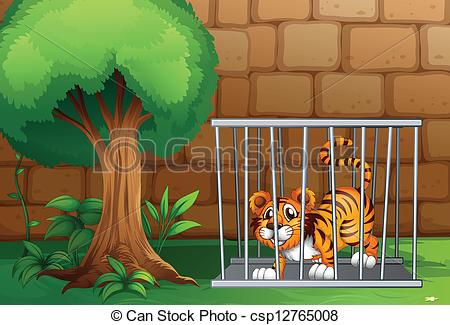 Clipart Vector of tiger in cage.