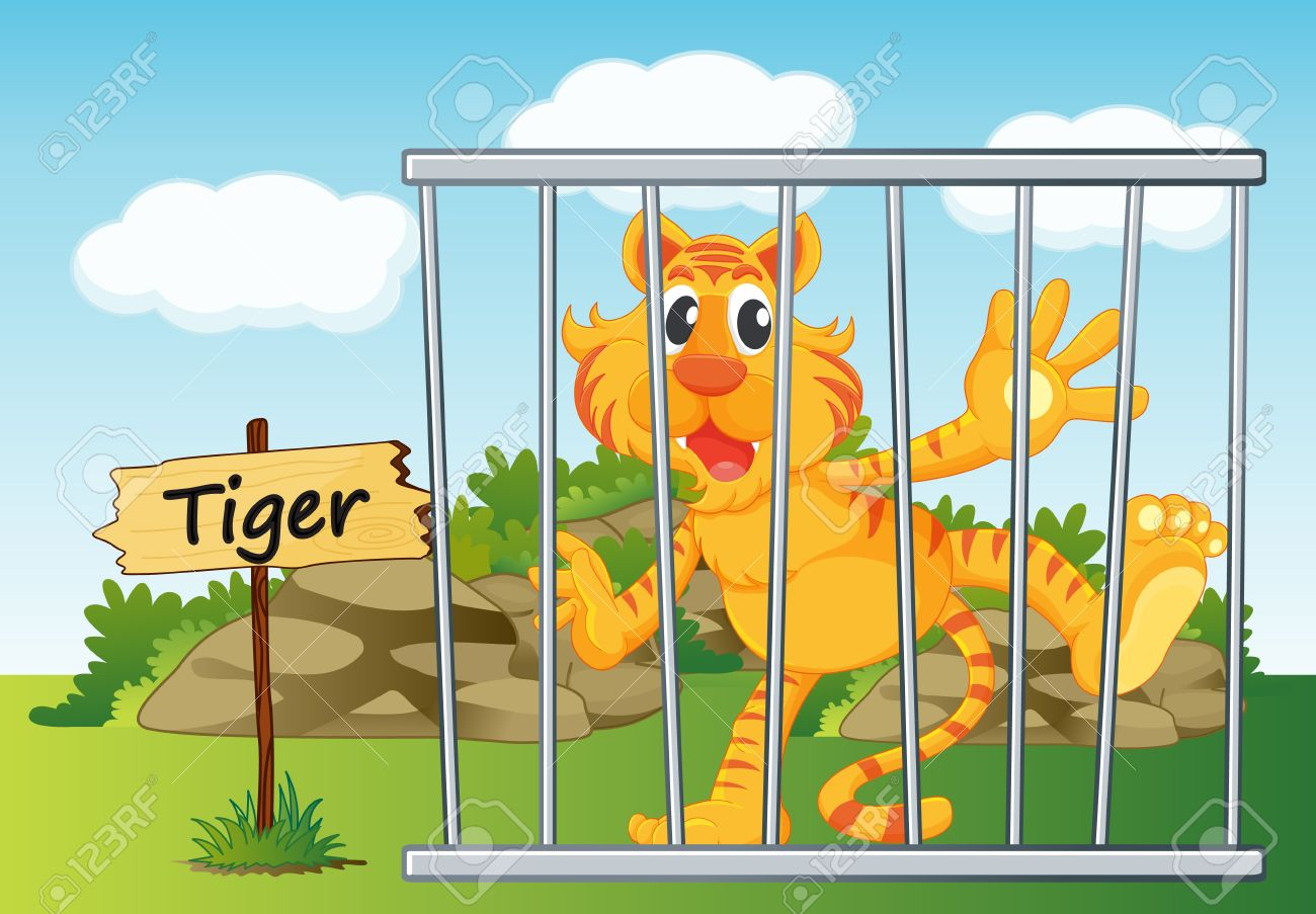 Illustration Of A Tiger In Cage And Wooden Board Royalty Free.