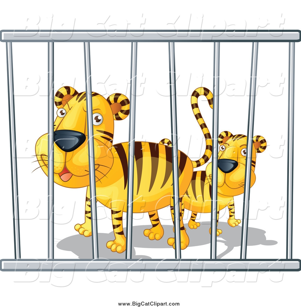 Tiger In Cage Clipart.