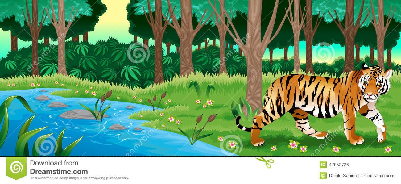 Tiger In Jungle Clipart.