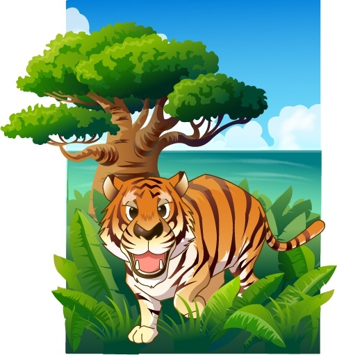 Jungle painting tiger trees icons colored cartoon design.