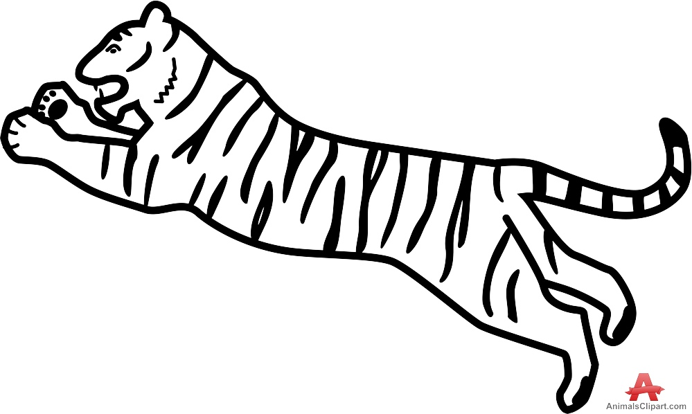 Jumping Tiger Outline Design.