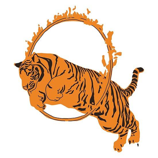 \'Circus Tiger Jumping Through Flaming Hoop\' Poster by AntoniaNeve.