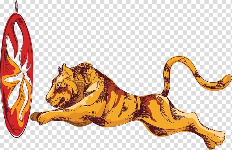 Tiger Lion Circus Illustration, painted circus lion jump.