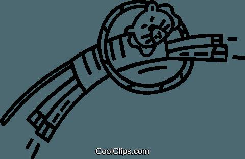 tiger jumping through a hoop Royalty Free Vector Clip Art.