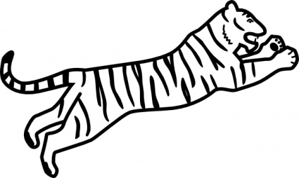 Tiger Jumping Outline clip art free vector.
