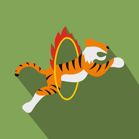 Circus tiger jumping through flaming hoop. Flat illustration.