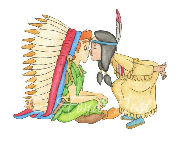 Disney Peter Pan and Tiger Lily Nose Kiss Watercolor by.