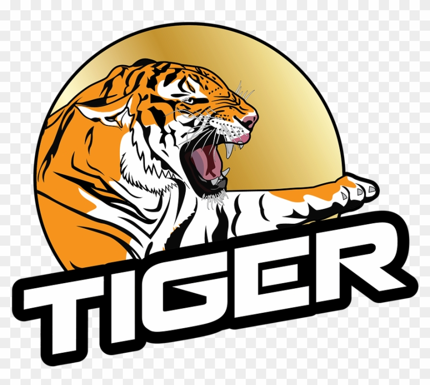 Tiger Roaring Right Animal Png Image.