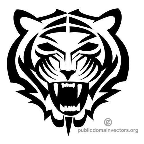 Tiger mascot clip art.