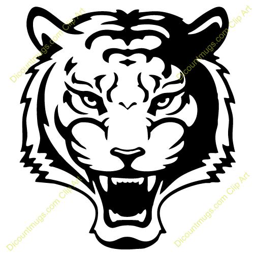 Tiger Head Clip Art Black And White.
