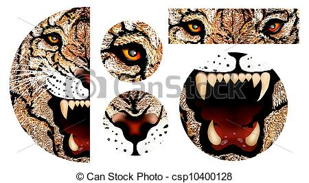 Clip Art of Hand Drawing of Tiger Face.
