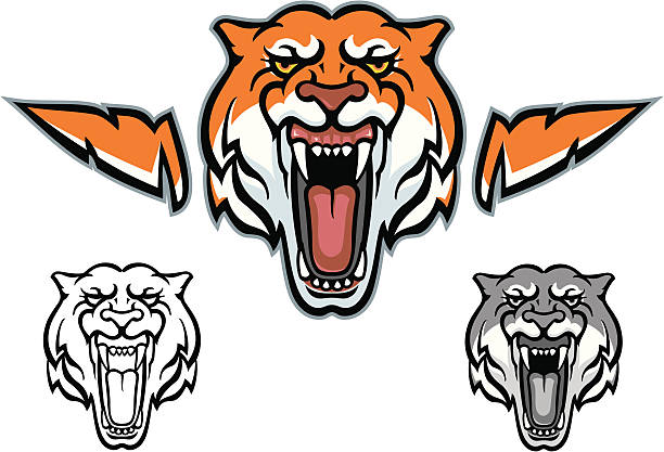 Silhouette Of A Tiger Mouth Open Clip Art, Vector Images.