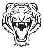 Angry Tiger Face Clip Art.