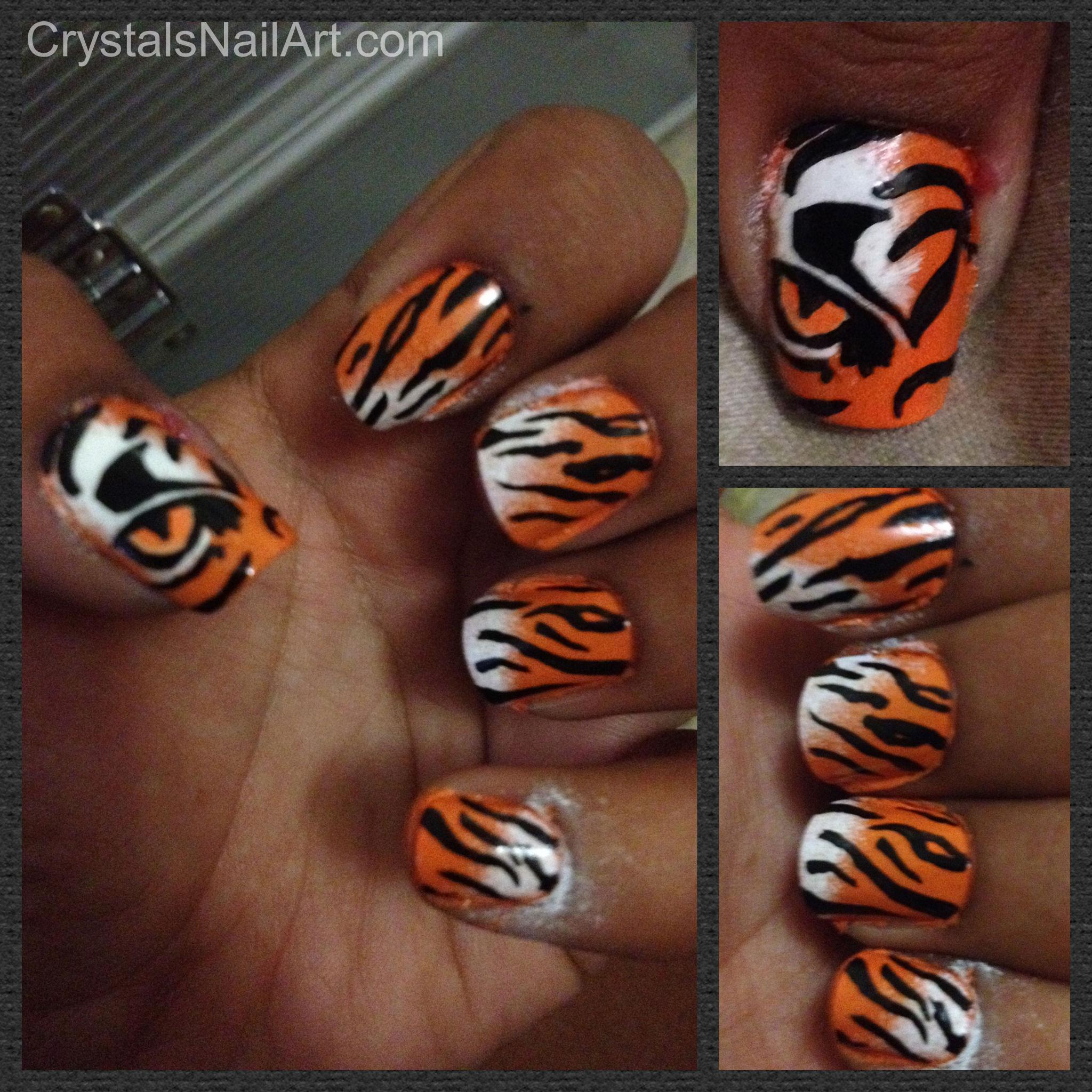 Tiger Stripe Nail Art. Perfect for tournament time!!!!.