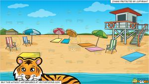 A Beautiful Tiger Lying Down and Summer Beach Shore Background.