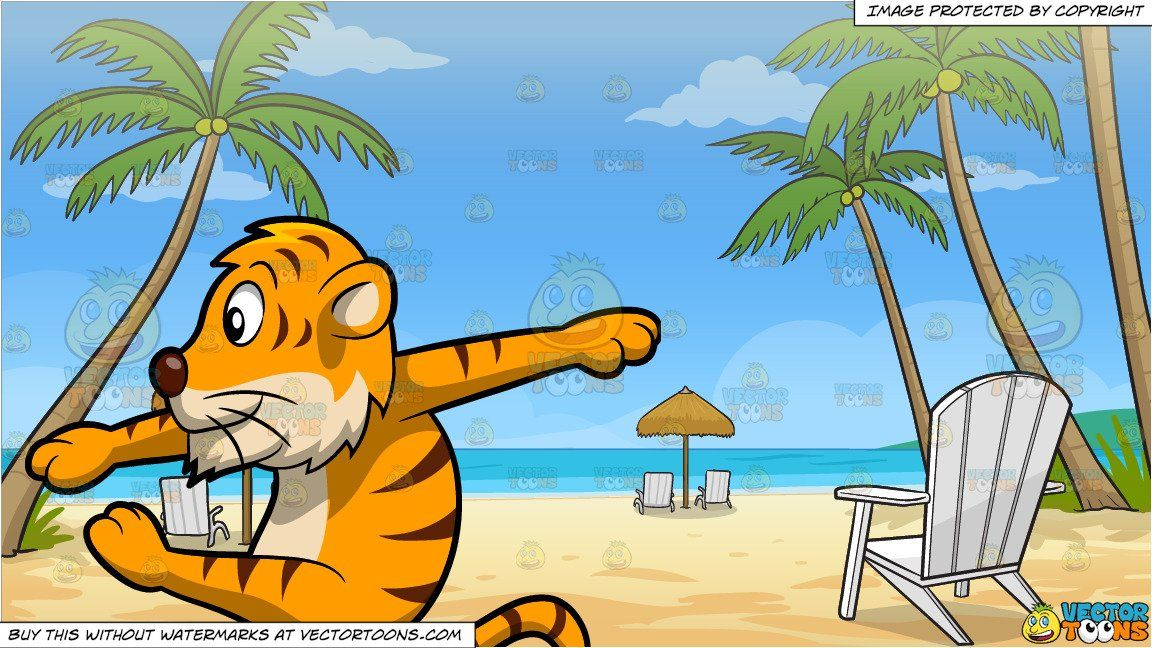 clipart #cartoon A Dancing Tiger and Loungers On The Beach.