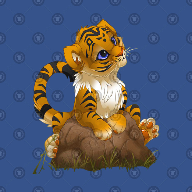 Tiger Cartoon , Cute Little Tiger Cartoon, tiger cub on rock graphic  sticker PNG clipart.