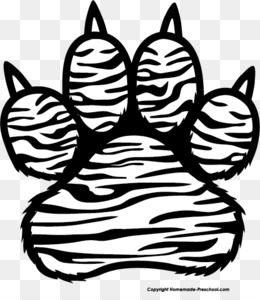 Download tiger paw print black and white clipart Paw Bengal.