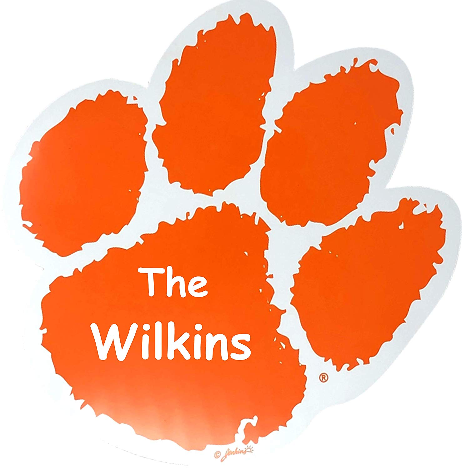 The Trendy Turtle Personalized Clemson University Tiger Paw Print Logo Car  Tail Gate Decal Magnet with Free Custom Name.