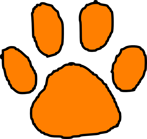 Orange Tiger Paw With Black Outline Clip Art at Clker.com.