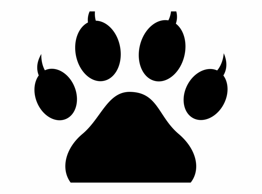 Clip Art Black And White Free Paw Print Kids Coloring.