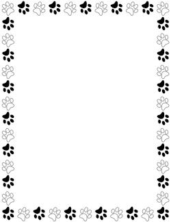 Black and White Paw Print Border.