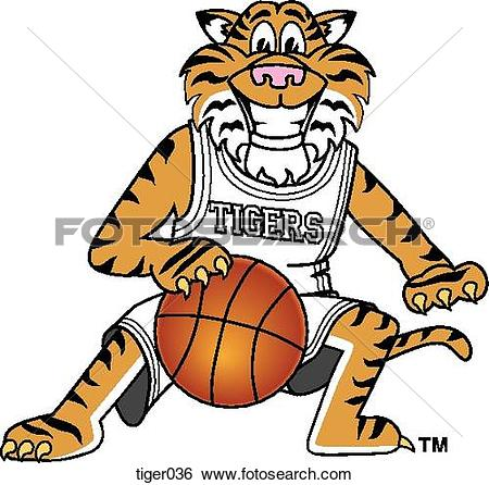 Stock Illustration of Tiger playing Basketball tiger036.