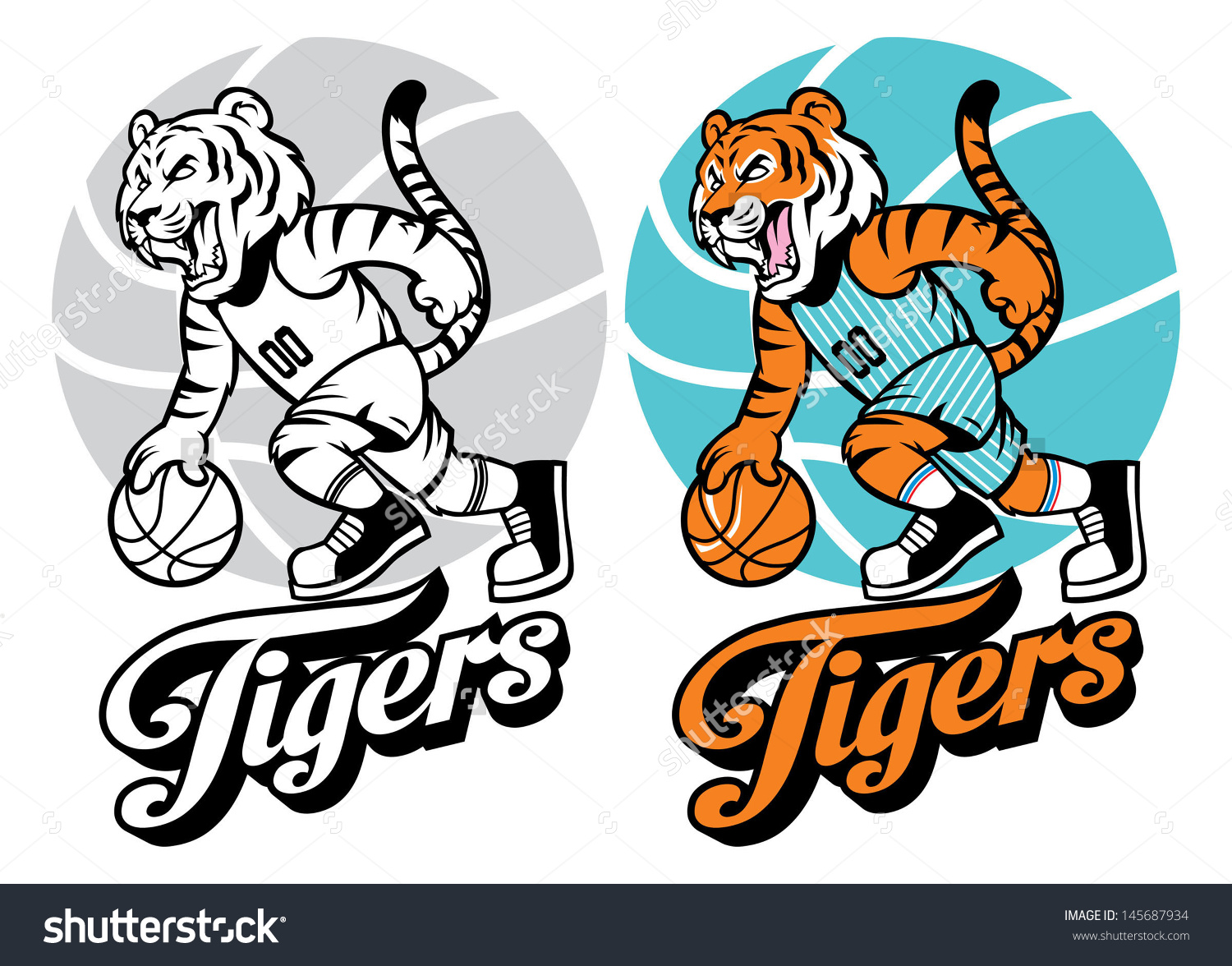 Tiger Basketball Mascot Stock Vector 145687934.