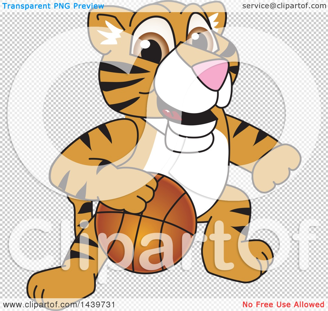 Clipart of a Tiger Cub School Mascot Character Playing Basketball.