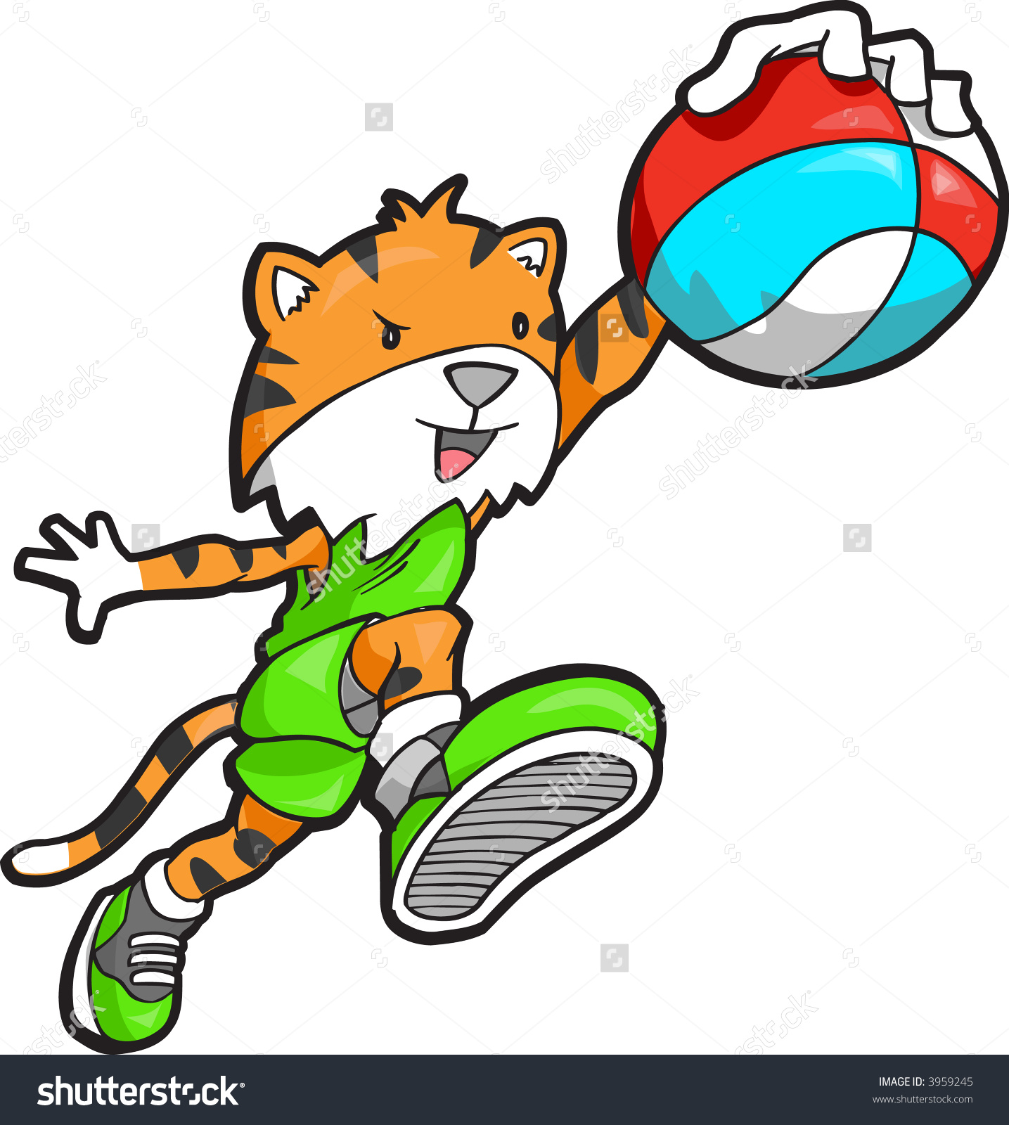 Tiger Basketball Player Vector Illustration.