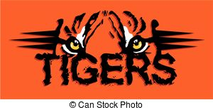 Tiger pride design with paw print and stripes..
