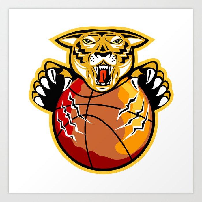 Tiger Basketball Ball Claws Art Print by patrimonio.