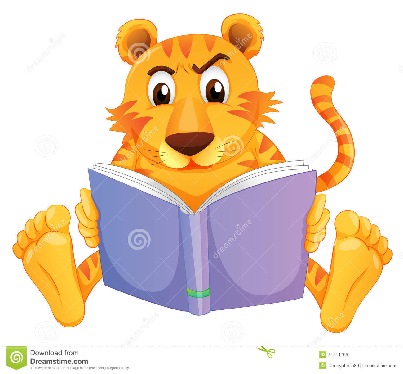 Tiger Reading A Book Clipart.