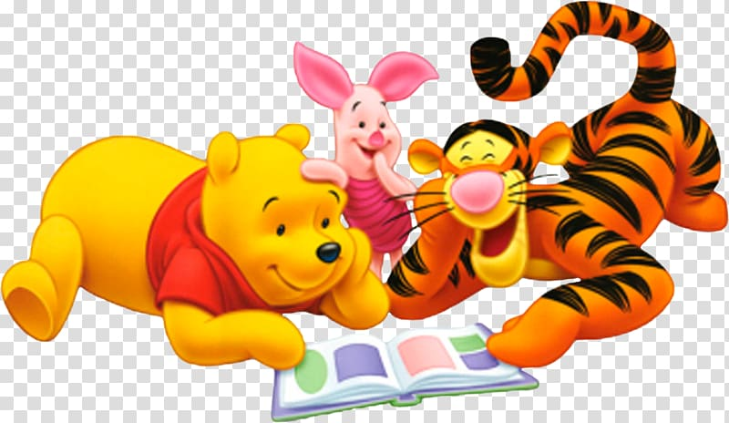 Disney Winnie The Pooh, Piglet, and Tigger reading book.