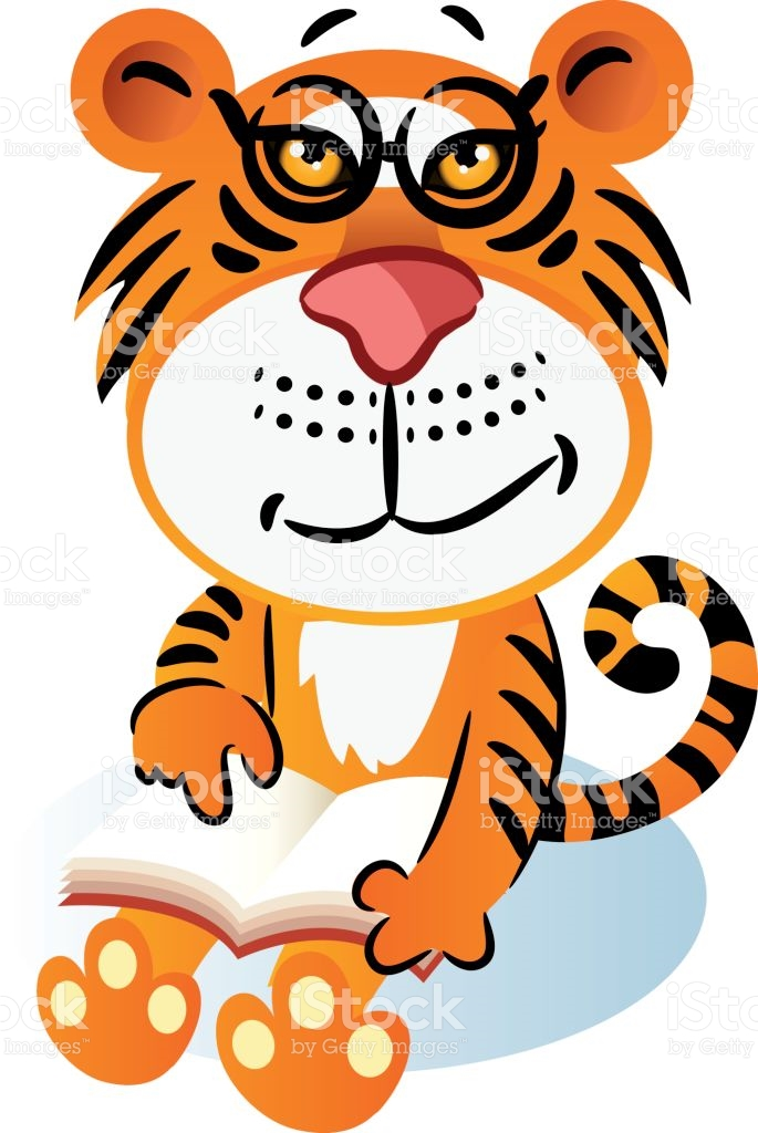 Tiger Reading Book stock vector art 651750042.