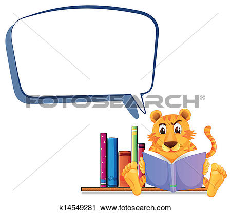 Clipart of A tiger reading with an empty callout k14549281.