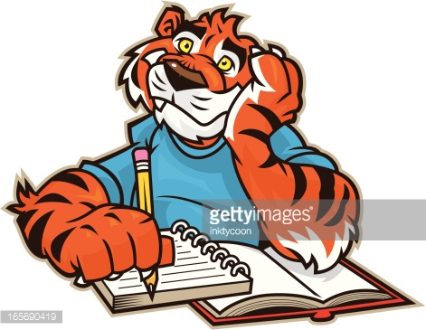 Tiger Reading Book Vector Art.