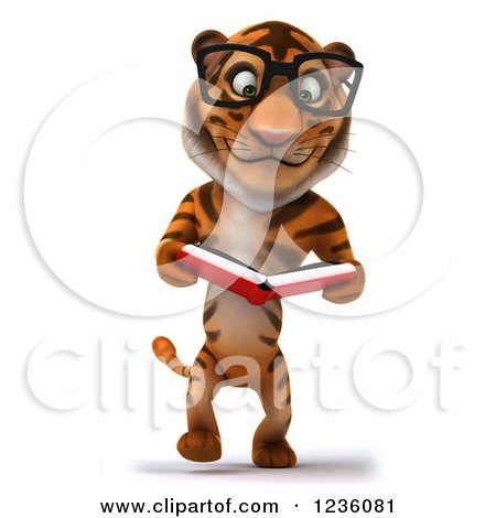 Clipart of a 3d Bespectacled Tiger Walking and Reading a Book.