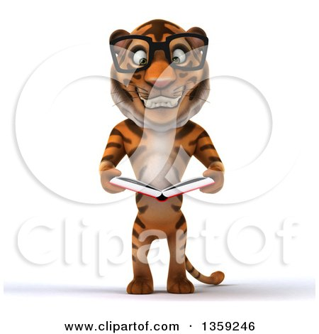 Clipart of a 3d Bespectacled Tiger Holding a Thumb up and Reading.