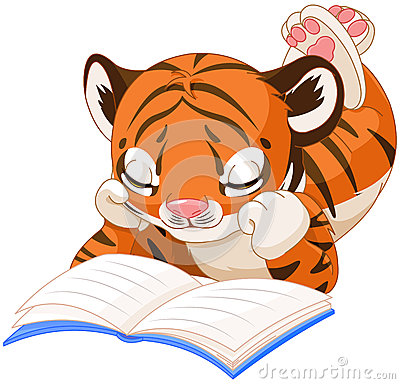 Tiger Reading Book Stock Vector.