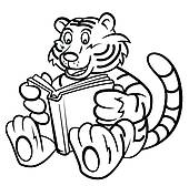 Clipart of Tiger kid read a book k21784642.