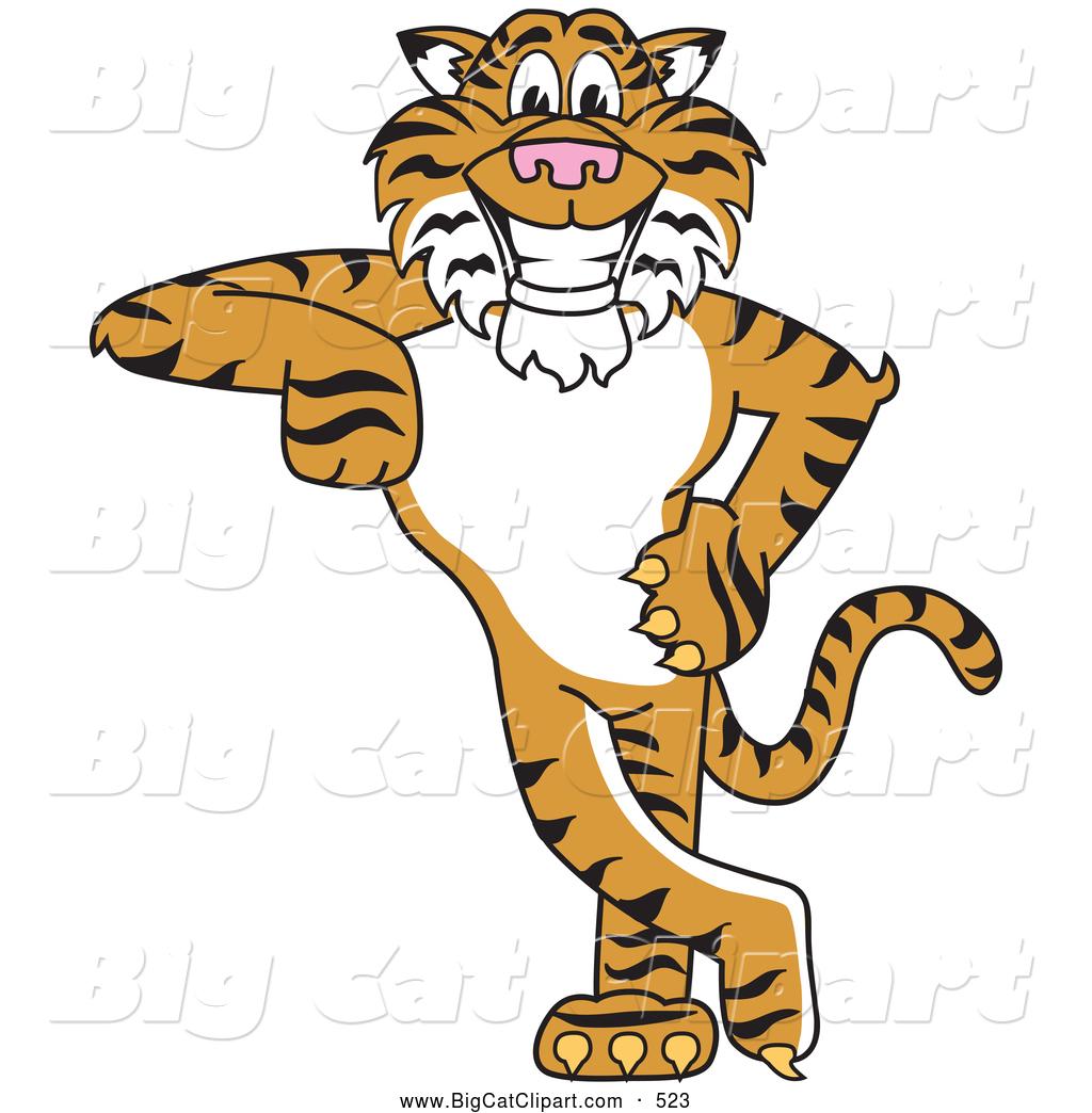 Cartoon Tiger School Mascots.