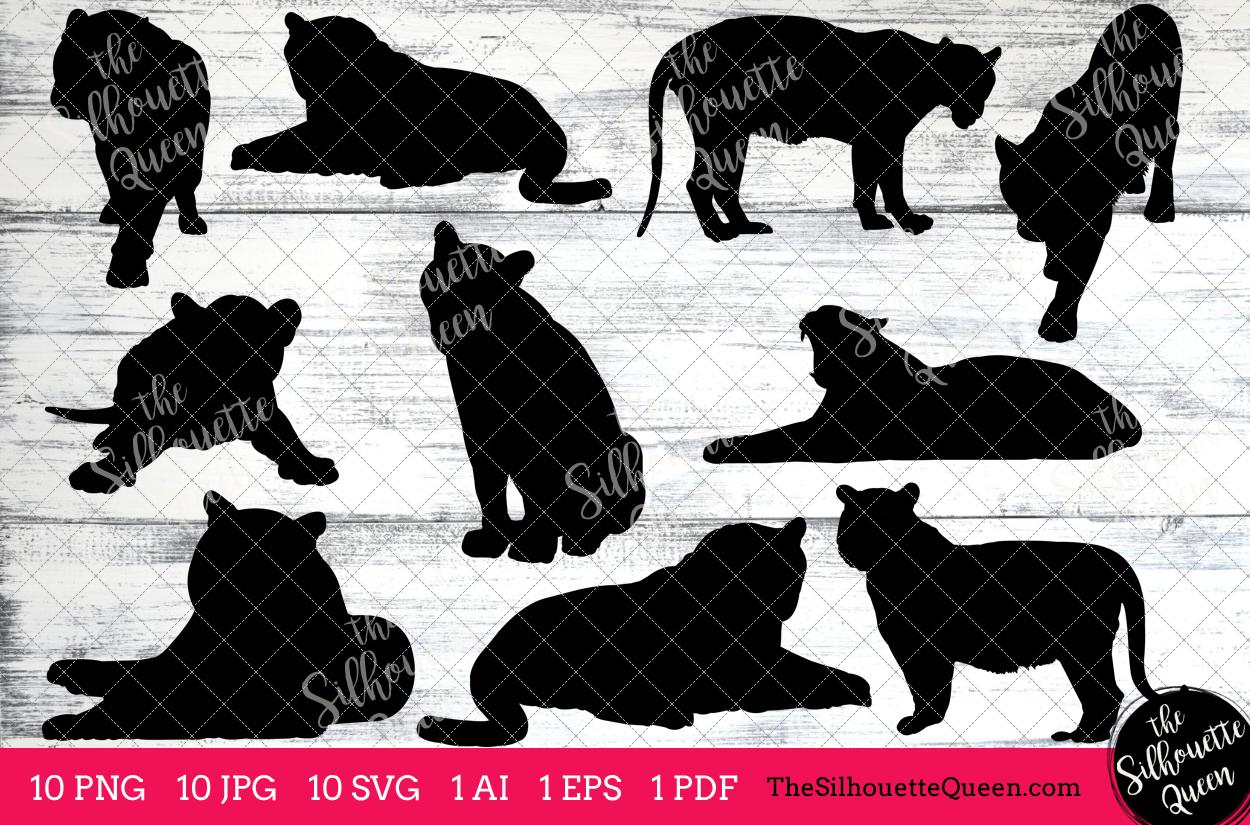 Tiger Silhouette Clipart Clip Art (AI, EPS, SVGs, JPGs, PNGs, PDF) ,Tiger  Clip Art Clipart Vectors.